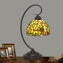 Domed Night Table Lighting 1 Light Hand Cut Glass Mediterranean Desk Light in Red/Yellow with Swirl Arm