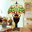 1-Light Ribbon/Lotus Night Light Tiffany Style Yellow/Green Handcrafted Glass Table Lamp for Hotel