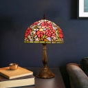 Bowl/Dome Night Table Light 1-Head Stained Glass Tiffany Nightstand Lamp in Red/Orange with Flower Pattern
