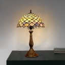 Bronze 1 Head Table Light Tiffany Stained Glass Fishscale Patterned Night Lamp for Bedside