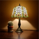 Bucket Stained Glass Night Lighting Mediterranean 1 Light Bronze Fishscale Patterned Table Lamp for Bedroom