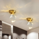 Brass Irregular Flush Mount Lamp Modern Crystal Block LED Hallway Close to Ceiling Lighting