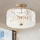 Crystal Drum Semi Flush Light Modernism 3 Heads Porch Flush Mount Recessed Lighting in Gold