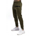 Sporty Mens Zipper Pocket Pleated Drawstring Cuffed Mid Rise Slim Fitted Ankle Length Jogger Pants