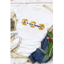 Chic Womens Letter Be A Nice Human Sunflower Graphic Rolled Short Sleeve Crew Neck Slim Fit Tee Top in White