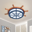 Nautical Rudder Flush Ceiling Light Wood Kids Dorm LED Flushmount Lamp in Blue with Parchment Shade