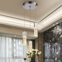 Bubble Crystal Chrome Hanging Light Rectangular 3-Bulb Simple Cluster Pendant for Restaurant