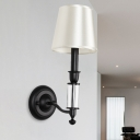 Black Candle Wall Sconce Minimalist Iron 1 Head Parlor Wall Light with White Cone Fabric Shade