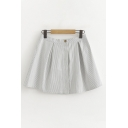 Chic Girls Stripe Printed High Rise Mini Pleated A-line Skirt in Gray