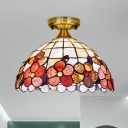 1-Bulb Kitchen Bar Flush Mount Tiffany Brass Ceiling Mount Light with Peony-Border Shell Shade