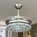 Chrome Tiered Round Fan Light Modern LED Crystal Semi-Flush Ceiling Lamp with 4 Clear Blades, 42.5