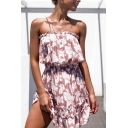 Chic Girls Allover Flower Printed Button down Stringy Selvedge Short Pleated A-line Cami Dress