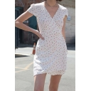 Womens Creative Ditsy Floral Printed Surplice Collar Short Sleeve Mini Wrap Dress in White