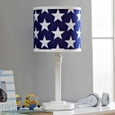 Modern Cylinder Fabric Nightstand Lamp 1 Head Table Lighting with Star Pattern in Blue-White