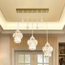 3-Bulb Canning Jar Cluster Pendant Modern Gold Cut-Crystal Hanging Ceiling Light