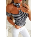 Classic Stripe Pattern O-ring Decoration Short Sleeve Choker Cold Shoulder Fitted T-shirt in Black