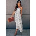 Amazing Womens Polka Dot Pattern Strapless Bow Tie Waist Maxi A-line Tube Dress in White