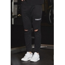 Training Guys Ripped Zipper Detail Drawstring Waist Ankle Length Fitted Pants