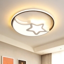 Nordic LED Flush Mount Recessed Lighting White Crescent and Star Thin Ceiling Lamp with Acrylic Shade, Warm/White Light