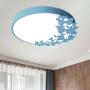Circular Acrylic Ceiling Lighting Kids Pink/Yellow/Blue LED Flush Mount Lamp with Butterfly Design