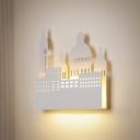 Metal Castle Wall Sconce Light Kids LED White Wall Lighting Fixture in Warm/White Light for Living Room