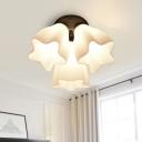White Glass Ruffle Semi Flush Mount Minimalist 3/5-Light Close to Ceiling Lighting Fixture