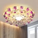 Flared Hallway Ceiling Light Fixture Minimalist Clear Crystal LED Purple Flush Mount Lamp
