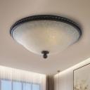 3-Light Curved Ceiling Lamp Retro Black Frosted Glass Flush Mount Light for Living Room