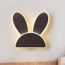 Iron Bunny Flush Mount Minimalist White/Black LED Surface Wall Sconce for Child Bedroom