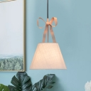 Fabric Ribbon Conical Multi Pendant Light Minimalist 2-Bulb Suspended Lighting Fixture in Pink