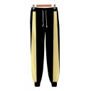 Guys Popular Contrasted 3D Cosplay Print Drawstring Waist Ankle Cuffed Tapered Fit Sweatpants