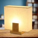 Simple 1 Bulb Night Lamp Beige Rectangle Table Light with Fabric Shade and Wood Base