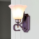Rustic Flared Sconce Light Fixture 1/2 Bulbs White Glass Wall Lighting Ideas in Black