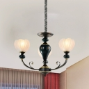 3/5-Bulb Ceiling Chandelier Country Floral Clear Ribbed Glass Drop Pendant in Black with Swooping Arm