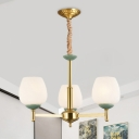 Gold Dome Shade Hanging Chandelier Traditional White Glass 3 Bulbs Dining Room Ceiling Hang Fixture