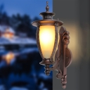 Classic Elongated Dome Wall Light 1 Light Yellow Glass Wall Lamp in Dark Coffee for Outdoor