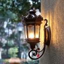 Dark Coffee 1-Light Wall Lamp Retro Water Glass Lantern Wall Sconce Lighting Fixture