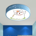 Blue/White Circle Flush Mount Cartoon LED Acrylic Ceiling Mounted Light with Cat Pattern for Nursery