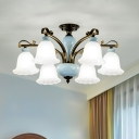 Classic Flared Semi Mount Lighting 6/8-Light White Glass Close to Ceiling Light with Curved Arm