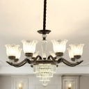 6/8 Heads Clear Glass Chandelier Lamp Modern Black Floral Living Room Pendant with Crystal Decor