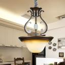 Hat Shaped Kitchen Dinette Pendant Lamp Vintage Beige Glass 4-Bulb Bronze Chandelier Light Fixture