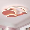 White/Pink Cloud Flush Mount Macaroon LED Acrylic Flush Ceiling Light Fixture in Warm/White Light