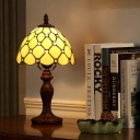 Beaded Nightstand Lighting 1-Head Beige Glass Tiffany Style Night Table Light with Dark Wood Resin Base