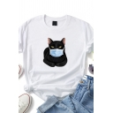 Funny Cat Patterned Short Sleeve Crew Neck Relaxed Fit Basic T Shirt for Girls