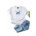 Trendy Colorful Butterfly Printed Rolled Short Sleeves Crew Neck Loose T Shirt for Girls