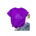 Chic Ladies Letter Tea Shirt Pattern Rolled Short Sleeve Crew Neck Regular Fit T Shirt