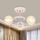 Sphere Crystal Semi Flush Light Modern 3/5 Bulbs Bedroom Flush Mount Lighting Fixture in White