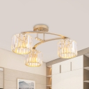 Rectangle-Cut Crystal Gold Semi Flush Cylindrical 3 Lights Simple Flush Mount Lighting