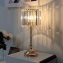 Gold Cylinder Night Lamp Traditional Crystal Block 1 Light Bedroom Nightstand Lighting