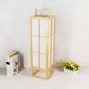 Japanese Gridded Cuboid Floor Light Wooden 1-Light Bedroom Stand Up Lamp with Handle in Beige
